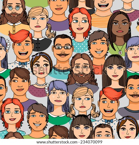 Cartoon colored faces crowd doodle hand-drawn seamless pattern - stock vector