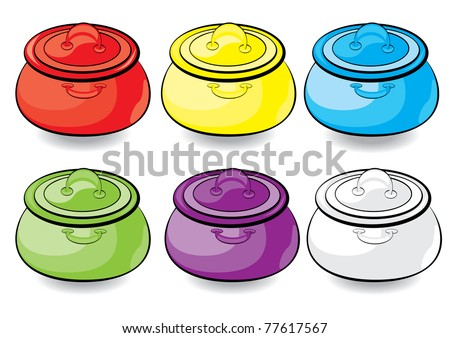 Cartoon colorful casserole. Illustration for design on white background - stock vector