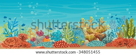 Cartoon colorful coral reef with fish on a blue sea background. Vector natural underwater seascape.  - stock vector