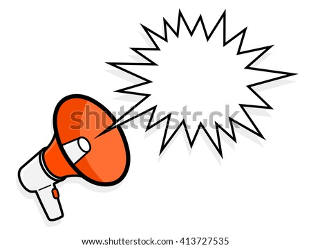 Cartoon colorful red megaphone with spiky speech bubble to show a loud amplified voice shouting , vector illustration - stock vector