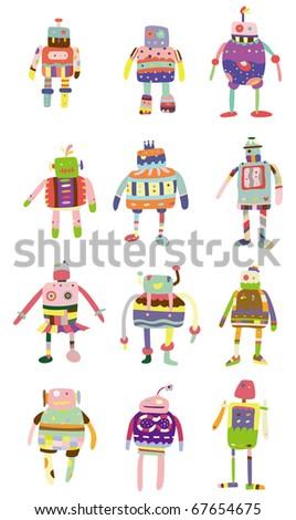 cartoon colorful robot icon - stock vector