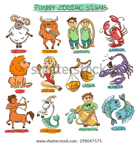 Cartoon colorful set of twelve isolated funny Zodiac signs.  - stock vector