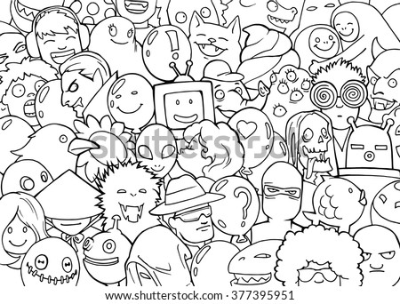 Cartoon coloring book doodle illustration of a mixed crowd of different fantastic creatures, people, aliens, monsters, animals