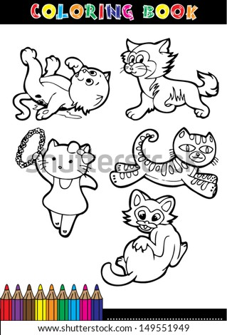 Cartoon coloring book page or coloring black and white cat.