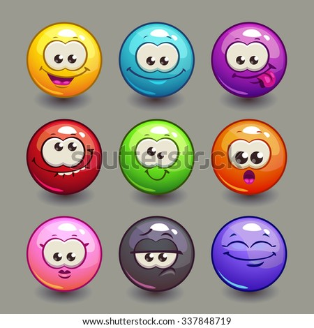 Cartoon comic round faces set, colorful vector bubble characters - stock vector