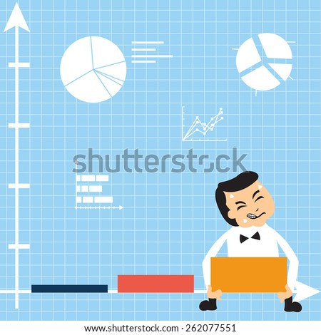 Cartoon comic situation where businessman is trying to achieve a growth, but obviously he has a trouble.  - stock vector