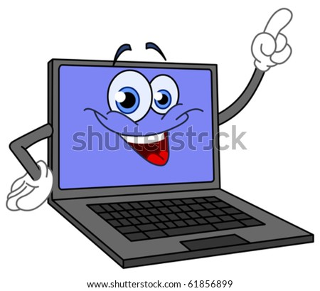 Cartoon computer pointing with his finger - stock vector