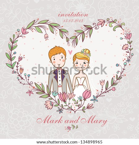 Cartoon concept marriage. Wedding invitation with bride and groom in a flower heart. - stock vector