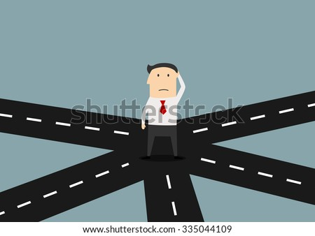 Cartoon confused businessman on crossroad choosing future direction to success or business strategy, for alternative choice concept design - stock vector