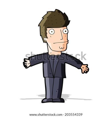 cartoon confused man - stock vector