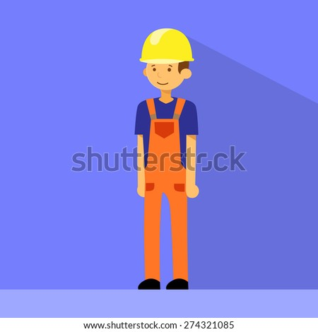 Cartoon Construction Worker Character Flat Vector Illustration - stock vector