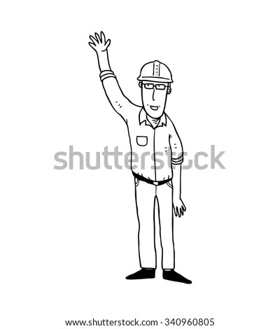 cartoon construction worker isolated on white background - stock vector