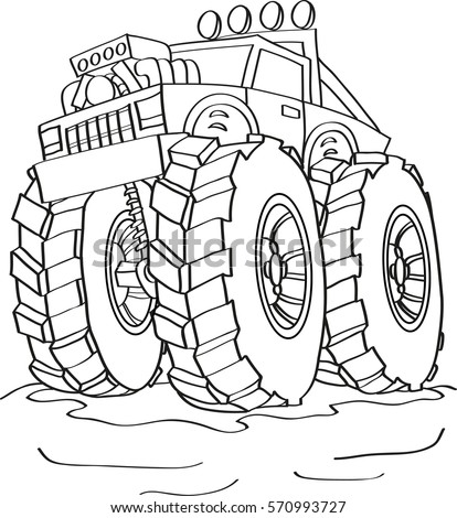 Cartoon Contour Illustration Of A Big Monster Truck Car Coloring Book
