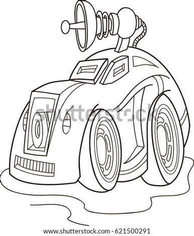 Cartoon contour vector illustration of a monster truck car, coloring book for kids.