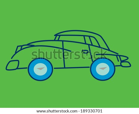 Cartoon convertible automobile with hood up and blue wheels on a green background. Design inspired by the fifties. Vector illustration.