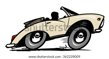 Cartoon convertible. Vector illustration - stock vector