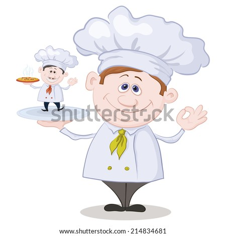 Cartoon cook chef holding a tray with a little chef with pizza isolated on white background. Vector - stock vector