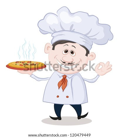 Cartoon cook - chef holds a delicious hot pizza, isolated on white background. Vector - stock vector