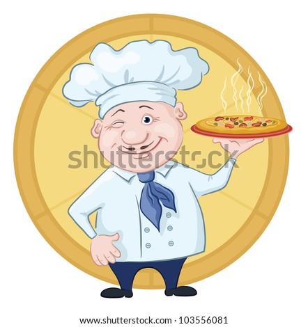 Cartoon cook - chef with delicious hot pizza on a circular background. Vector - stock vector
