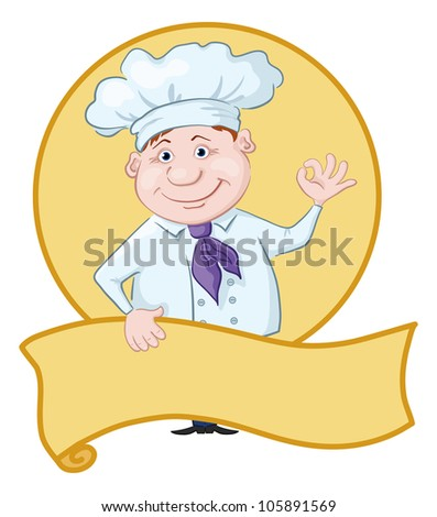 Cartoon cook - chef with poster showing ok hand sign. Vector - stock vector