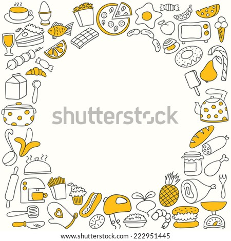 Cartoon cooking frame. Vector illustration. - stock vector