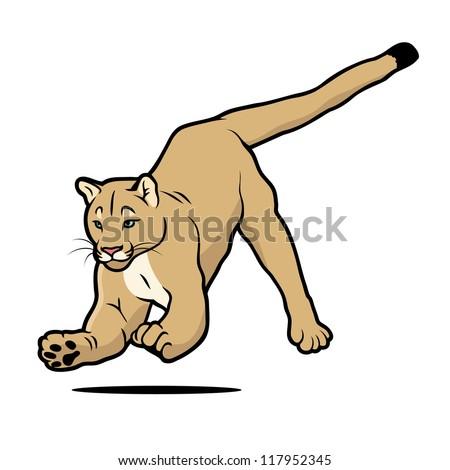 Cartoon cougar - vector illustration - stock vector