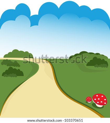 Cartoon country road background vector