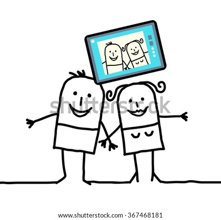 cartoon couple sending a picture of themselves - stock vector