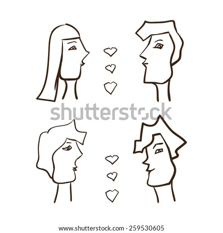 Cartoon couples in love. Funny characters. - stock vector