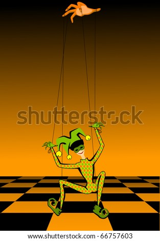 Cartoon court jester holds a marionette - stock vector