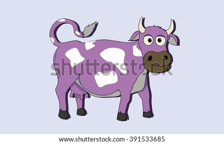 Cartoon cow on the green grass spotted vector illustration