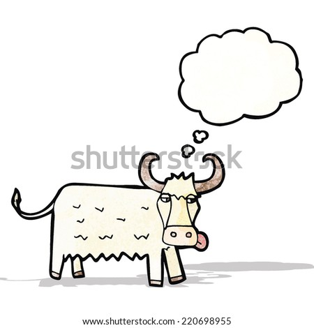 cartoon cow with thought bubble - stock vector