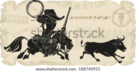 Cartoon cowboy and bull in the Wild West, vector