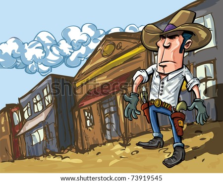 Cartoon cowboy casts a shadow in the dusty streets of a old west town - stock vector