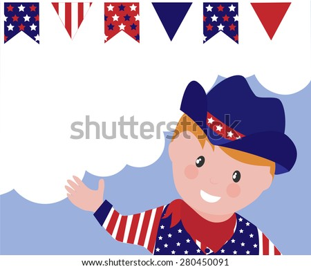 Cartoon cowboy celebrating 4th of July. Background with decorative flags and copy space.