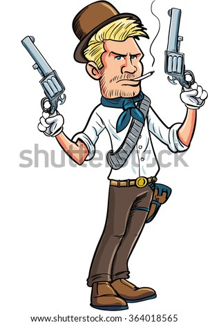 Cartoon cowboy character with two six guns. Isolated