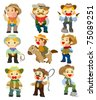 cartoon cowboy icon - stock vector