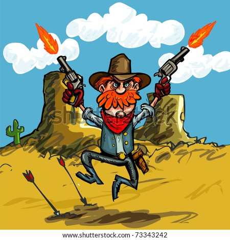 Cartoon cowboy jumping with his six guns in the desert - stock vector