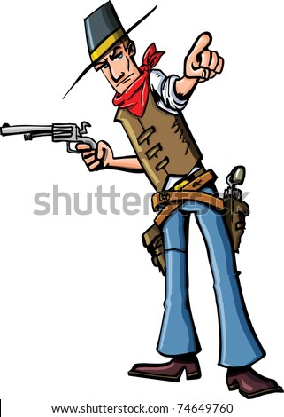 Cartoon cowboy pointing. He has a gun in his other hand