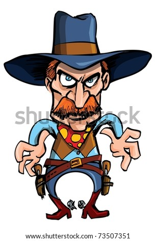 Cartoon cowboy ready to draw his guns in a gunfight - stock vector