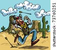 Cartoon cowboy running from indian arrows. He is in the desert there is a cactus behind him - stock photo