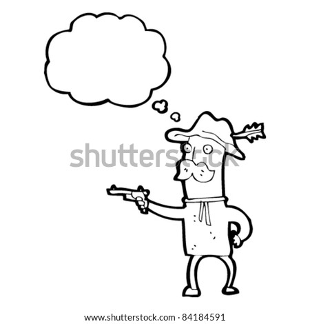 cartoon cowboy shooting pistol - stock vector