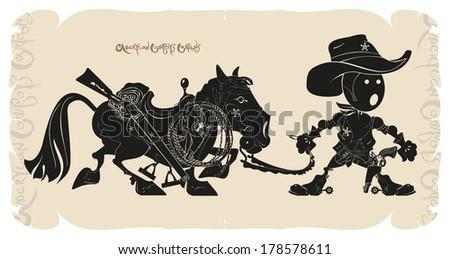 Cartoon cowboy with a horse, vector - stock vector