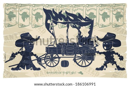 Cartoon cowboys. Sheriff, bandit and wagon, vector - stock vector