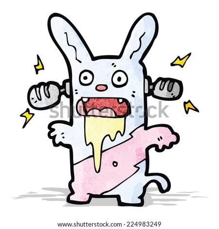 cartoon crazy bunny rabbit listening to music - stock vector