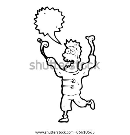 cartoon crazy madman in straight jacket - stock vector