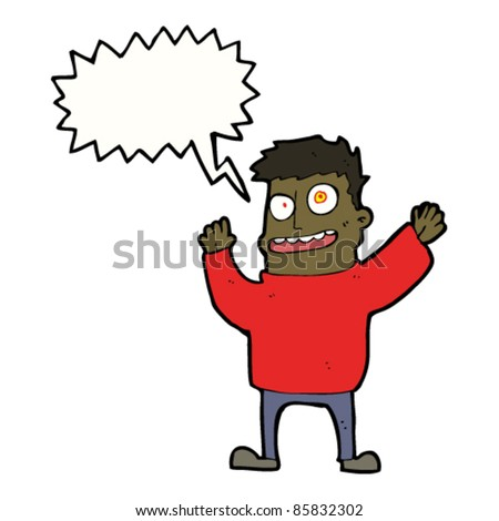 cartoon crazy madman shouting - stock vector