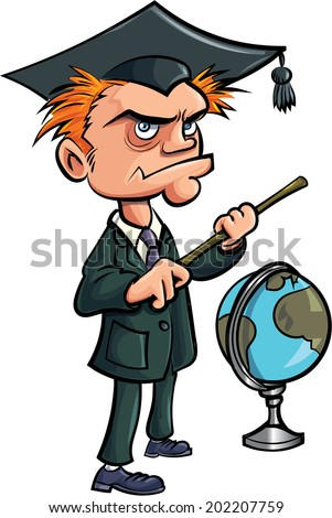 Cartoon crazy teacher with a stick and a globe. Isolated - stock vector