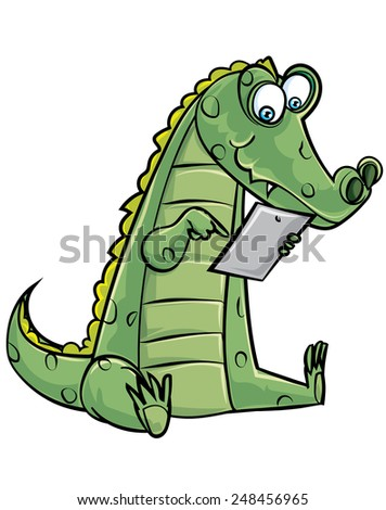 Cartoon crocodile using a computer tablet. Isolated on white