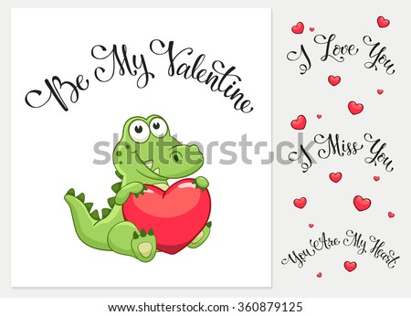 Cartoon crocodile with heart. I love you. I miss you.  Be my Valentine. You are my Heart. Funny greeting card. - stock vector